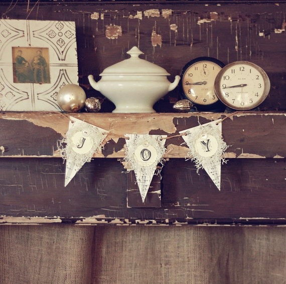 Holiday JOY banner vintage inspired paper bunting
