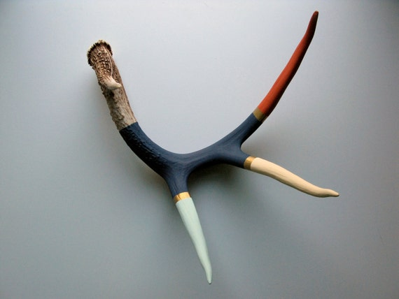 Orange, Cream, Seafoam, Gold and Navy Striped Painted Antler - Large