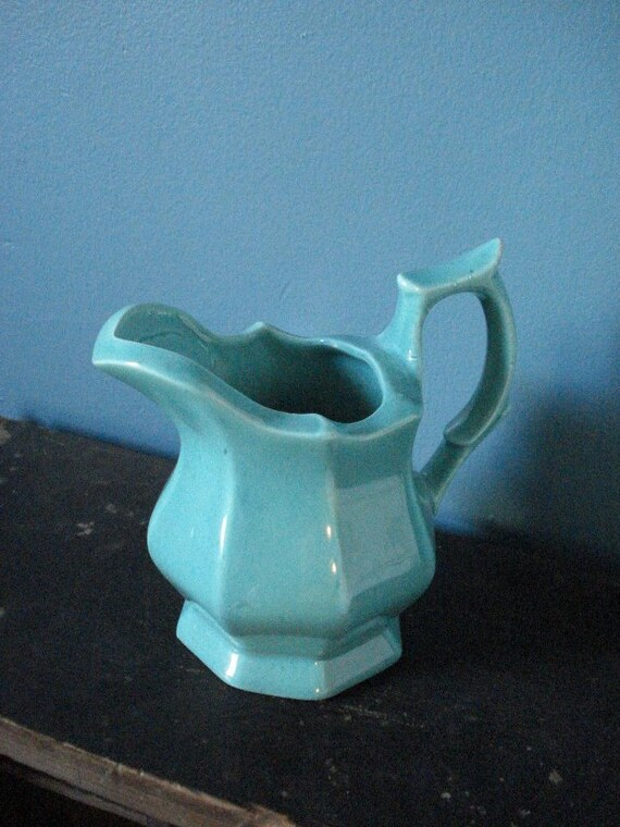 Pretty as a Pitcher - Small Vintage Teal Vase