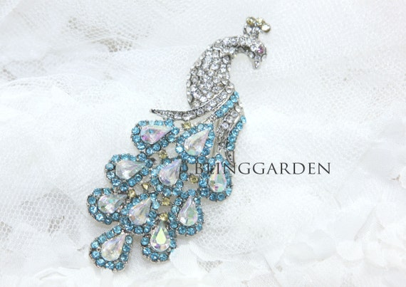 Blue Peacock Crystal Rhinestone Wedding Invitation Napkin Bridal Dress Bag