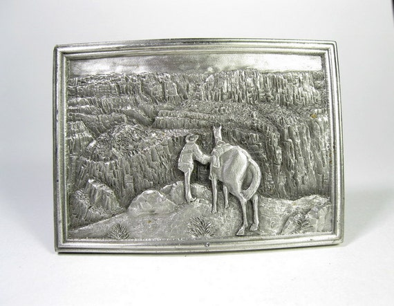 Belt Buckle, Vintage, Pewter, 1977, Cowboy, Country Western, Grand Canyon, Horse
