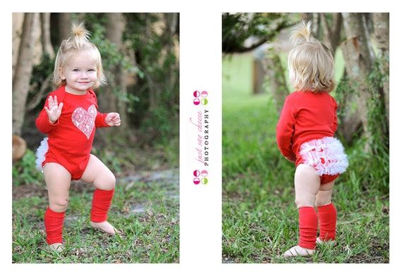 Peppermint Love Red Ruffle Bottom Baby Bodysuit - Christmas Holiday Girl Gift