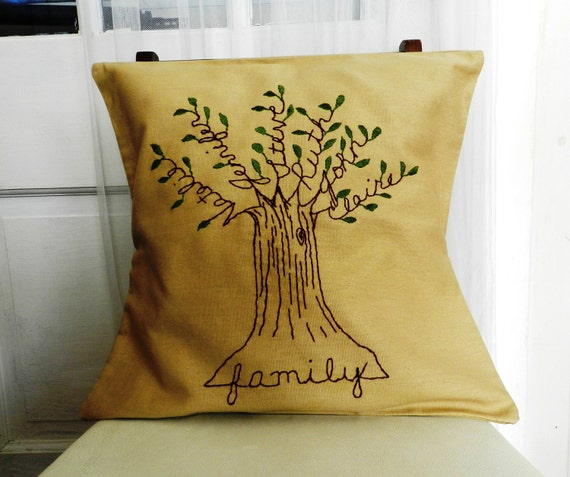 Personalized Family Tree Pillow Cover 16 inch. Mothers Day Gift. Embroidery.  Family Names.  Family.  Light Brown or Gray.