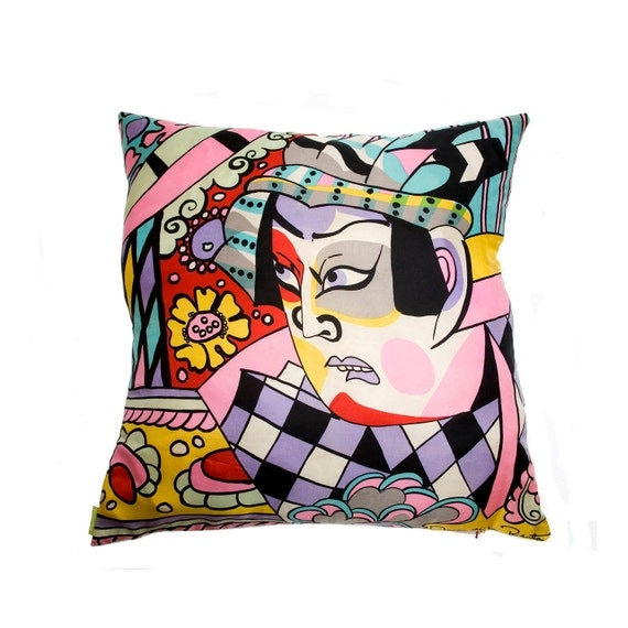 Vintage Oscar De La Renta Cushion Cover made with Upcycled Designer Silk Scarf Japanese Kabuki Multicoloured