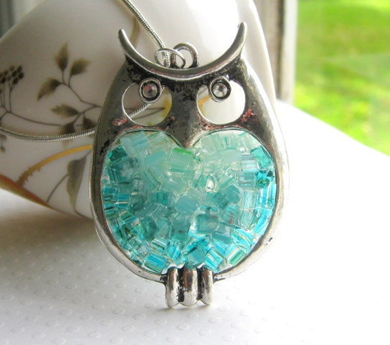 Stained Glass Owl Pendant