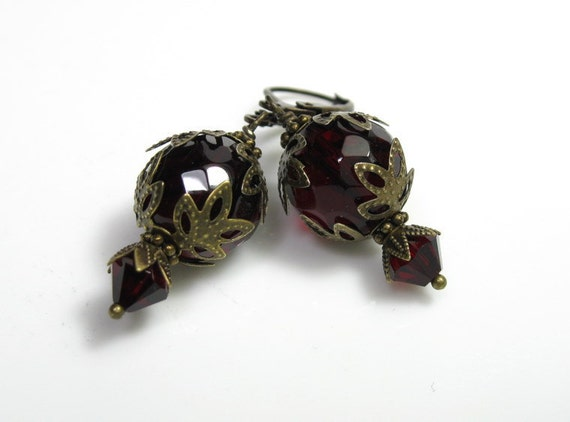 Red Earrings, Vintage Style Earrings, Czech Glass, Antiqued Brass