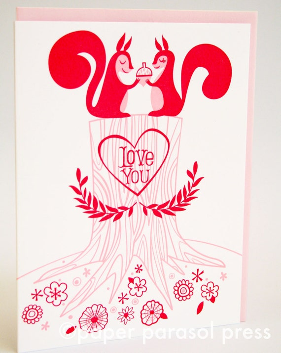 Love You Squirrels Cute Valentines Letterpress Card
