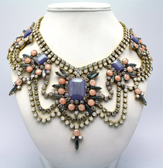 Pastel Statement Necklace with Vintage Dyed Crystal- Prague