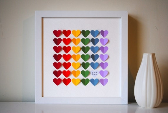 Wedding guest book alternative - 3D Wedding Hearts - RAINBOW - SMALL guest book (includes frame, instruction card and one pen)