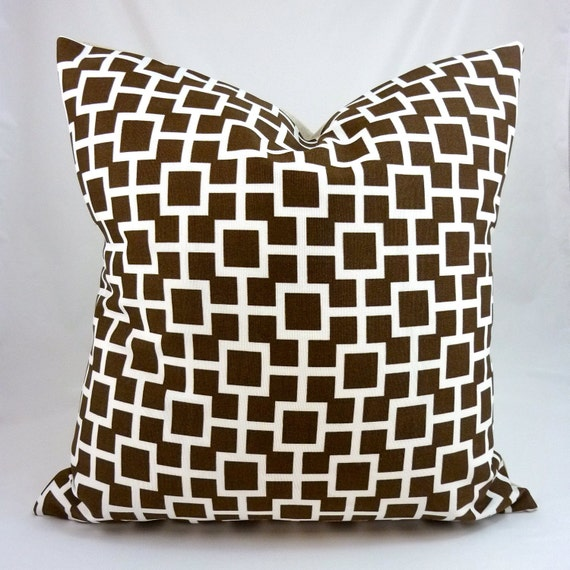 Designer Pillow Cover in Baja Lattice Driftwood - 18x18 or 20x20 (White Geometric Pattern on Chocolate Brown)