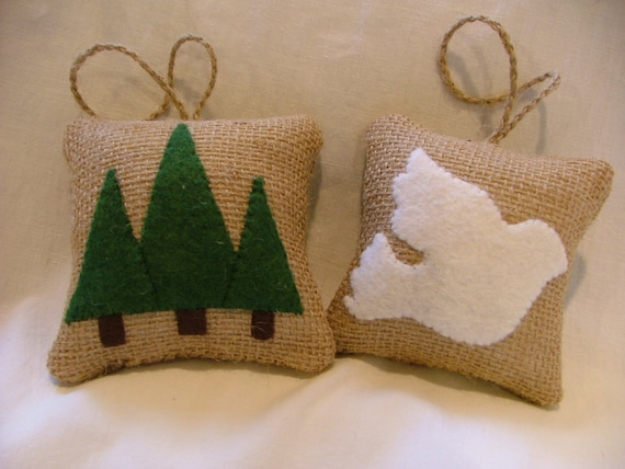 Woodland Burlap Ornaments White Dove and Pine Trees Hand Stitched - Set of 2