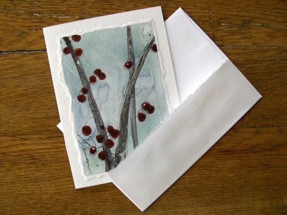 Christmas Card Red Berries Botanical Watercolor 5 x 7 Blank Card