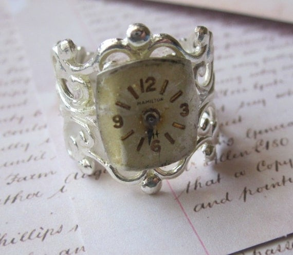 Steampunk Watch Part Filigree Ring Adjustable Free Shipping