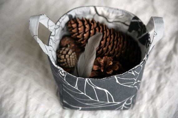 Fabric Basket - Grey Leaves