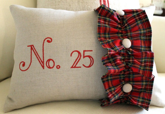 No. 25 embroidered  12 x 16 Pillow Cover Flax Linen with Christmas Plaid Homespun ruffle covered button trim Zipper closure FREE SHIPPING