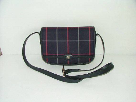 Vintage genuine Burberry Burberrys leather canvas tartan checked saddle shoulder bag