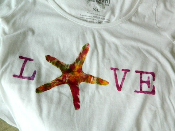 Organic yoga  tshirt womens  starfish love XL