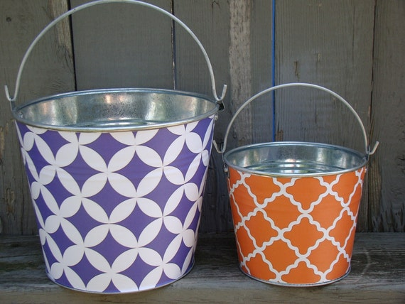 Design Your Own Pail, Winifred galvanized metal storage bucket- great easter pail