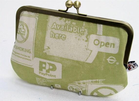 Screenprinted clutch purse with margarita green Corner Shop Window design