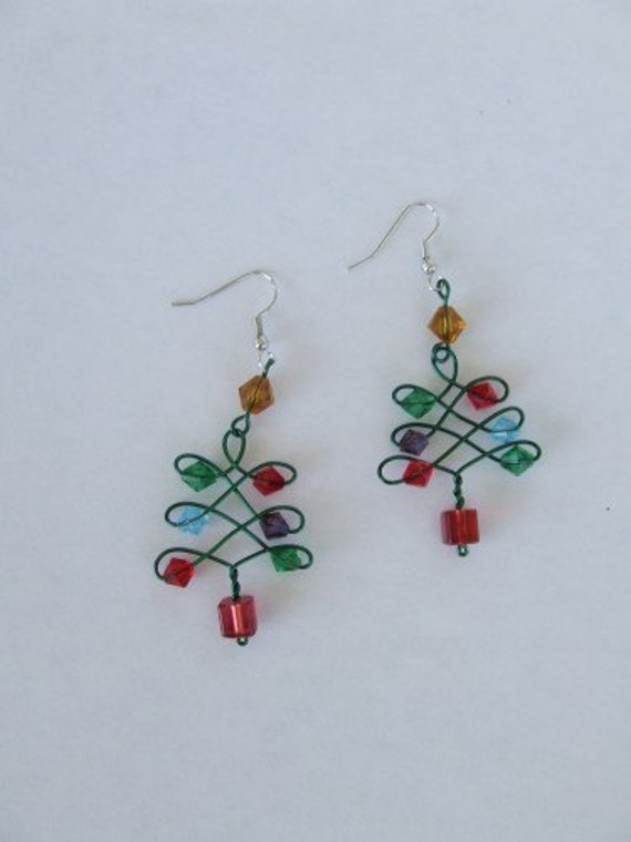 Wire ChristmasTree Earrings