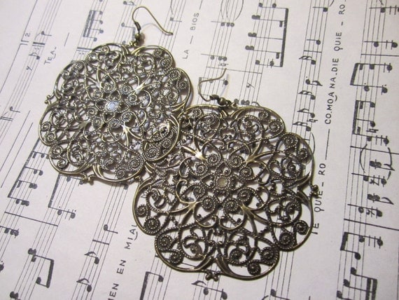 Brass Filigree Earrings