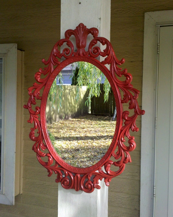 Fairy Princess Mirror - Ornate Vintage Frame in Lipstick Red - 13 by 10 inches