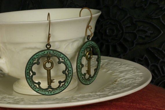 Mysterious and Romantic Earrings: Verdigris Patina Frame with Antique Brass Key