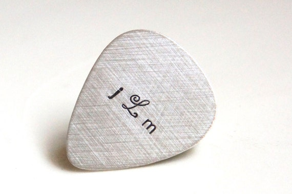 Custom Guitar Pick - Personalized Sterling Silver Hand Stamped Guitar Pick -  Music Lovers Valentines Day Gift for Him - Mens Gift