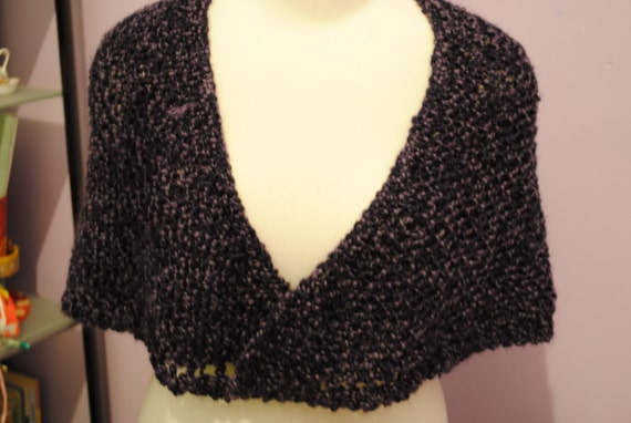 Small Plum Purple Hand Knitted Shawl