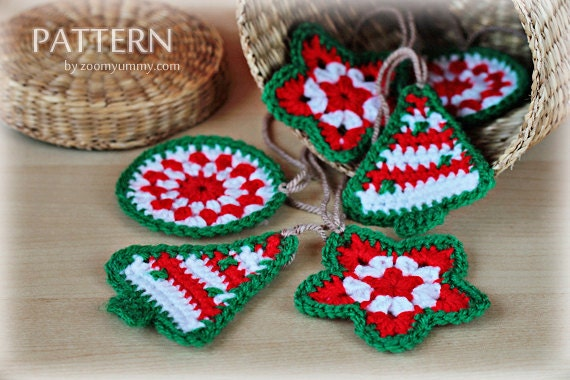 Crochet Christmas Ornaments - Circle, Tree, Star - PDF Pattern