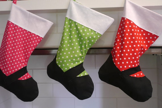 Mary-Jane Style Christmas Stocking - Pink with white stars