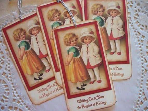 Vintage Christmas Tags - Christmas Sisters - Set of 4