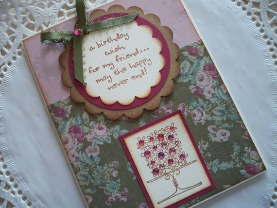 Birthday Card - For a Friend - Vintage style