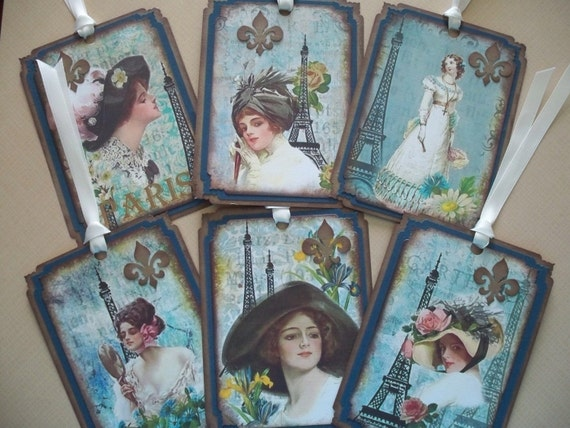 Paris Gift Tags/Bookmarks - Blue Ladies of Paris - Set of 6