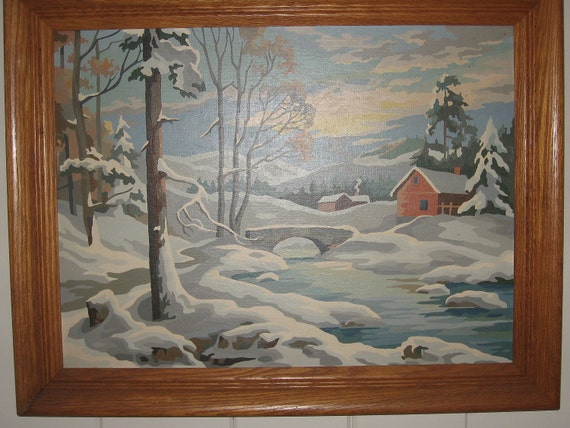 Large Vintage Paint by Numbers Winter Scene with Cabin, New England, Oak Frame 1960's