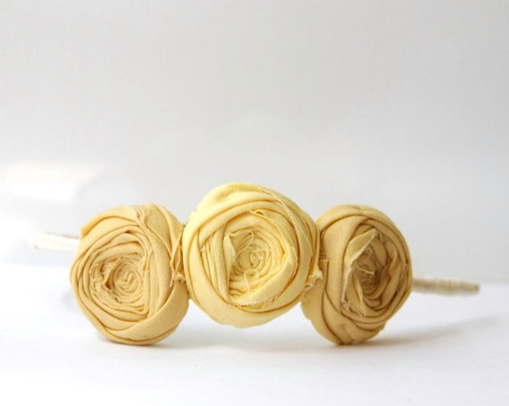 RESERVED Rosette Headband Bamboo Mustard Yellow and Sunshine Yellow Trio Flower Ribbon Wrapped Headband