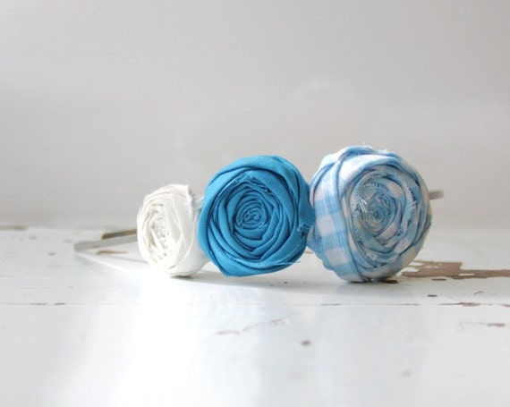 Rosette Headband Trio Gingham Blue. Turquoise. and white Rosette Fabric Flower Headband