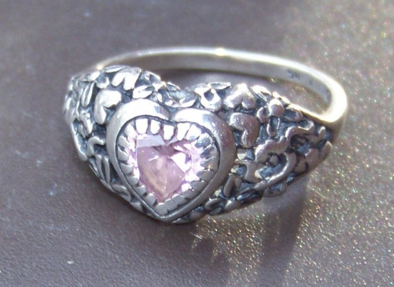 Sterling Silver Filigree Hearts / Flowers / Cherub Design Ring with Pink Simulated Diamond Heart-Shaped Stone