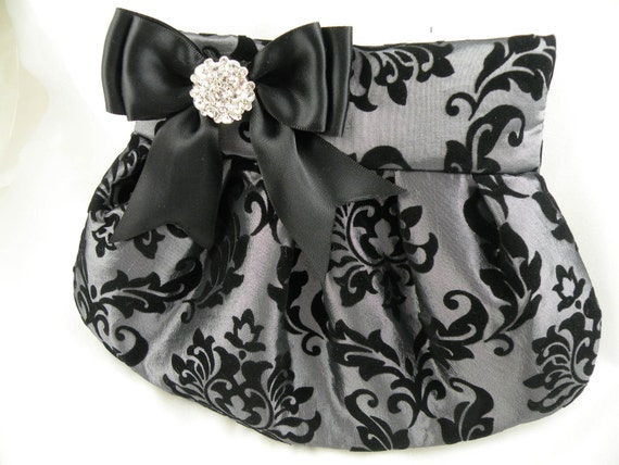 Pleated Clutch- Weddings--Smoke Silver Taffeta with Flocked Black Velveteen Damask ACANTHUS Print with Black Satin Bow and Crystal