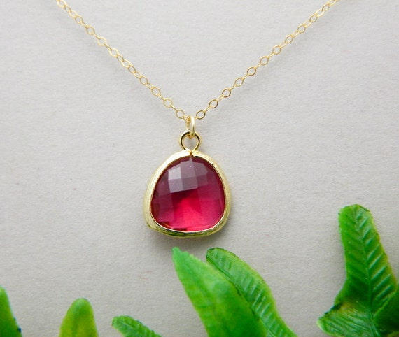 Fuschia Glass Gold Framed Necklace Bridesmaid gifts Wedding Jewelry