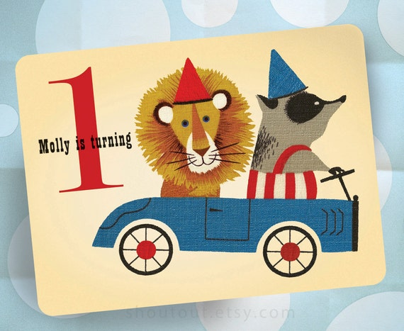 20 Customized First Birthday Party Invitations - LION and BADGER in Go Cart