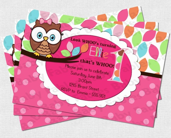 Pretty Owl Birthday Party Invitation - DIGITAL DIY