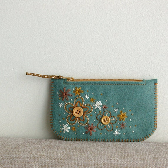 Sweet Blossoms: Made To Order Hand Embroidered Wool Felt Coin Purse iPhone Cozy by LoftFullOfGoodies