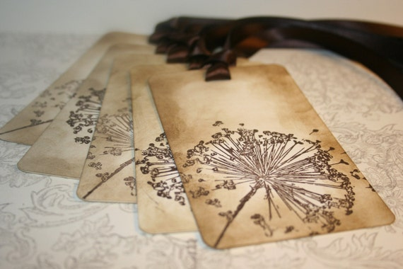 Wedding Wish Tree Tags - Dandelion wishes - Vintage Appearance Tags - Set of 5