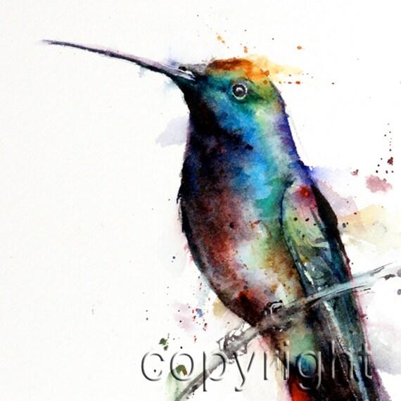 HUMMINGBIRD Watercolor Print by Dean Crouser