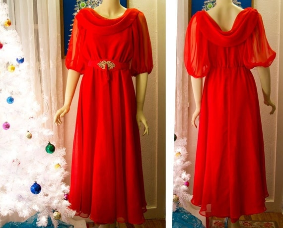 Vintage Red Chiffon and Taffeta dress Christmas Angel in Red