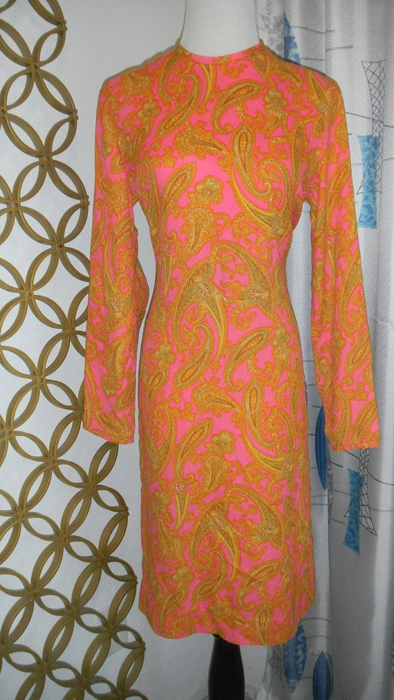 Super Groovy 1960s Vintage Psychedelic Paisley Dress-Hot Pink & Orange