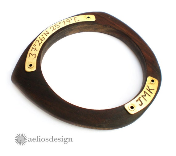 Latitude Longitude Upcycled Wood Bangle Bracelet: A New Geometric and Modern Take on the Original