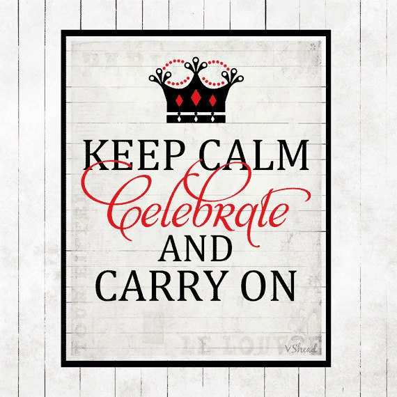 Keep Calm and Carry On Art Print Poster Black Large