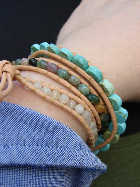 Beaded Leather Wrap Bracelet- Chan Luu style- Turquoise, Jasper